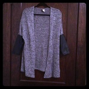 Leather sleeved cardigan